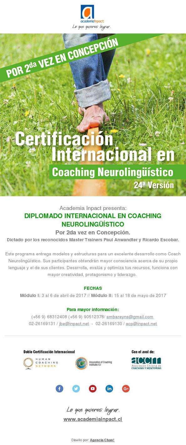Diploma de Coaching Neurolinguistico pela segunda vez em Concepción
