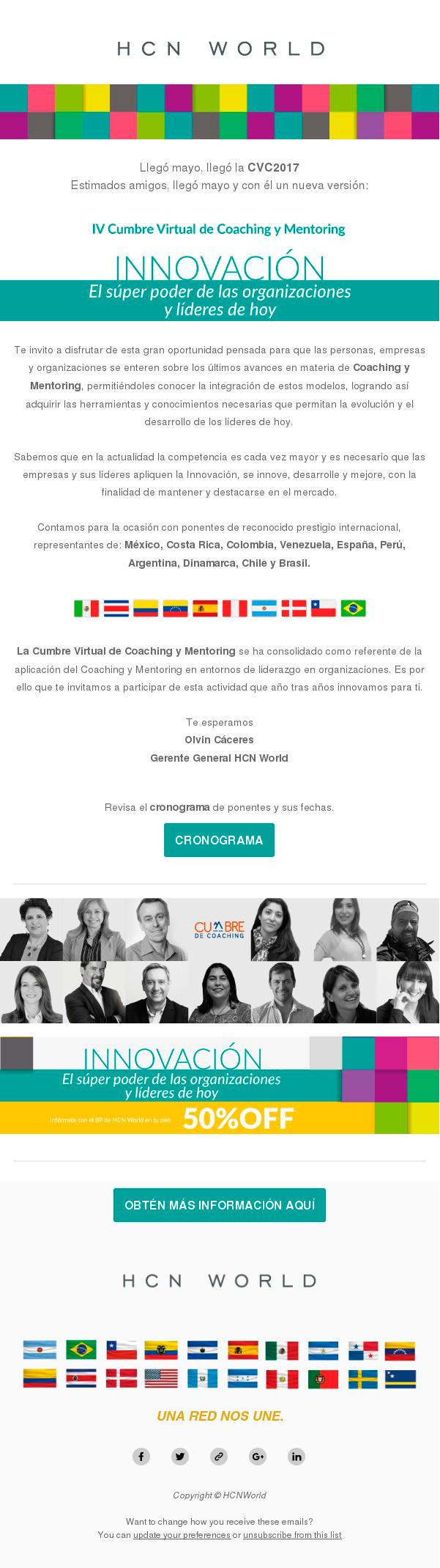 Newsletter HCN sobre la próxima Cumbre Virtual de Coaching