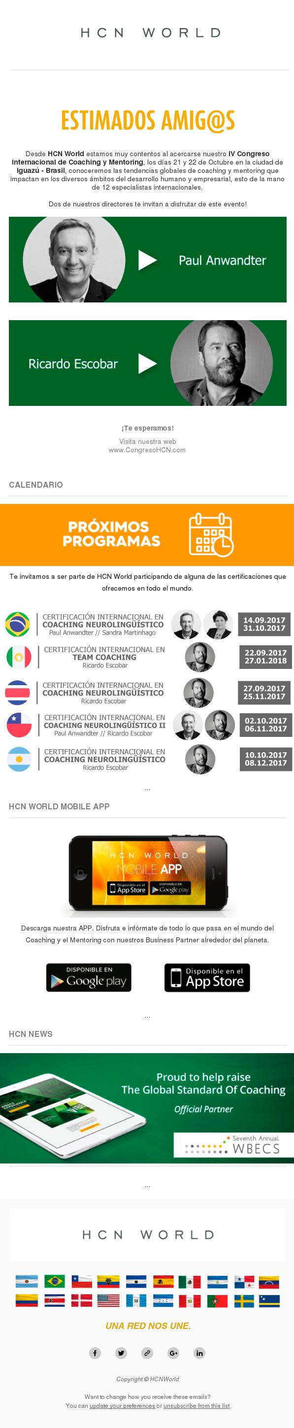newsletter HCN, Septiembre del 2017